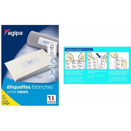 agipa Universal-Etiketten, 70,0 x 42,4 mm, mit Abzieh-Hilfe