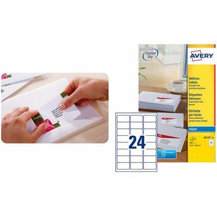 AVERY Étiquettes Adresse Jet d'encre, 63,5 x 46,6 mm, blanc