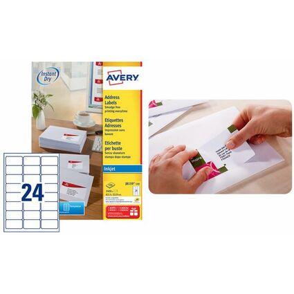 AVERY Étiquettes Adresse Jet d'encre, 99,1 x 33,9 mm, blanc