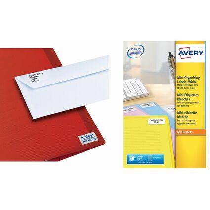 AVERY Mini étiquettes Adresse laser, 46 x 11,1 mm, blanc