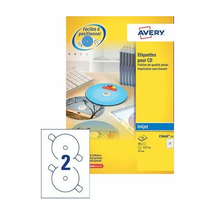 AVERY Étiquettes CD, diamètre: 117 mm, blanc, qualité photo