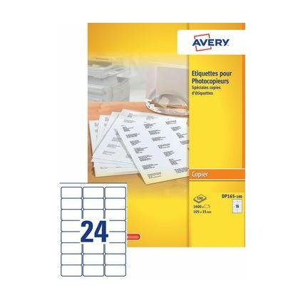 AVERY Etiquette pour photocopieur, 105 x 39 mm, blanc