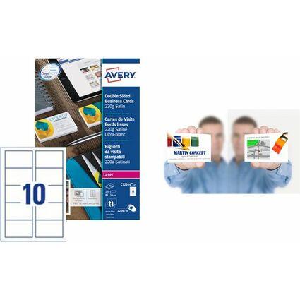 AVERY Cartes de visite Quick&Clean, 220 g/m2, blanc satin