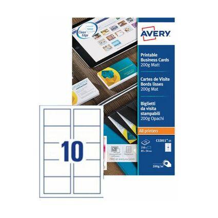 AVERY Cartes de visite Quick&Clean, 200 g/m2, blanc mat