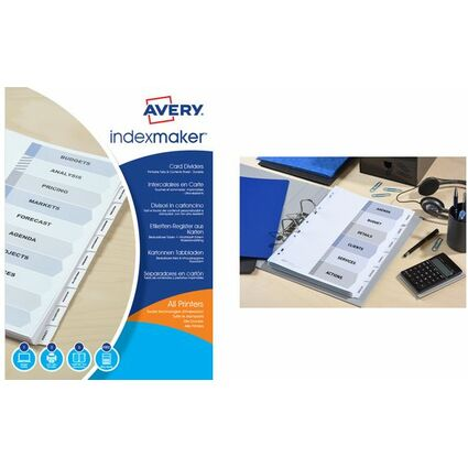 AVERY Intercalaires IndexMaker Carte, 6 touches, A4+, blanc
