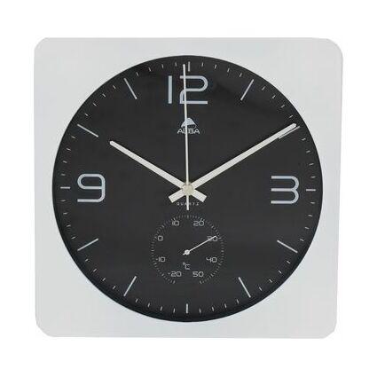 """ALBA Wanduhr """"HORDUO BC"""", mit Thermometer, weiß"""