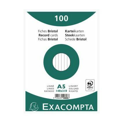 EXACOMPTA Karteikarten DIN A5 blanko weiß 100 Karteikarten
