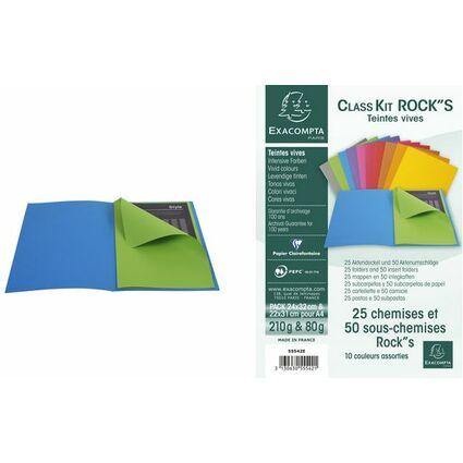 EXACOMPTA Aktendeckel ROCK/'S DIN A4 210 g//qm farbig sortiert 10 Aktendeckel