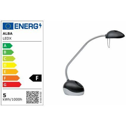 """ALBA LED-Tischleuchte """"LEDX"""", mit Fuß, schwarz/silber"""