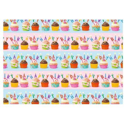 """2 m SUSY CARD Geschenkpapier /""""Cupcakes/"""" auf Rolle B L 700 mm x"""