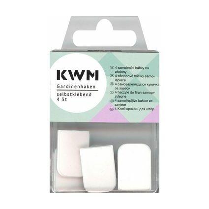 KWM Gardinen-Haken, selbstklebend, weiß
