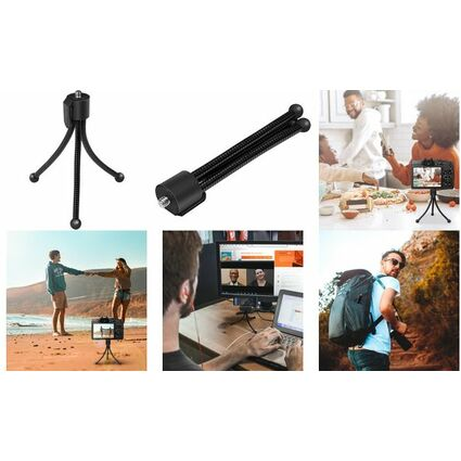 LogiLink Tragbares Mini-Stativ, flexibel, schwarz