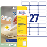 AVERY zweckform Stick+Lift Etiketten, 63,5 x 29,6 mm, weiß