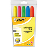 "BIC textmarker ""Highlighter Grip"", Keilspitze, 5er Etui"