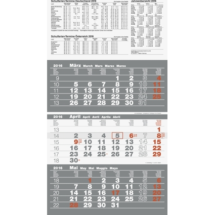 "Glocken Wandkalender ""3-Monats-Kalender"", 2022, grau"