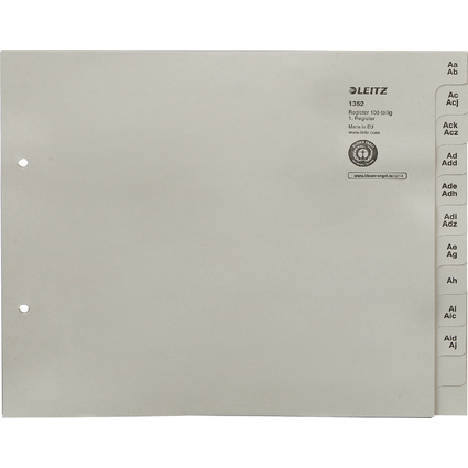leitz tauenpapier register a z f r 100 ordner grau 1352 00 85 bei g nstig kaufen. Black Bedroom Furniture Sets. Home Design Ideas