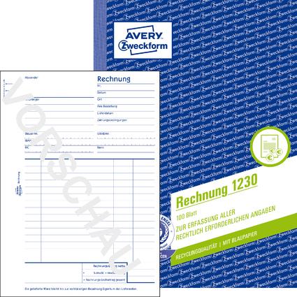 """AVERY Zweckform Formularbuch """"Rechnung"""", RC, A5, 100 Blatt"""