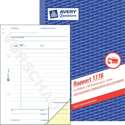 "AVERY Zweckform Formularbuch ""Rapport"", A5, 2 x 40 Blatt"