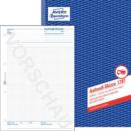 """AVERY Zweckform Formularbuch """"Aufmaß-Skizze"""", A4, 50 Blatt"""