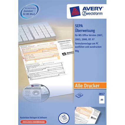 """AVERY Zweckform Vordruck """"SEPA-Standardüberweisung"""", DIN A4"""