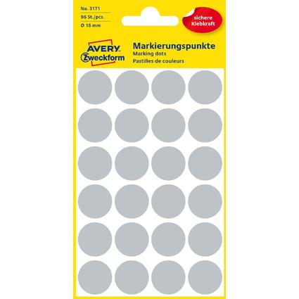 AVERY Zweckform Markierungspunkte, Durchmesser 18 mm, grau