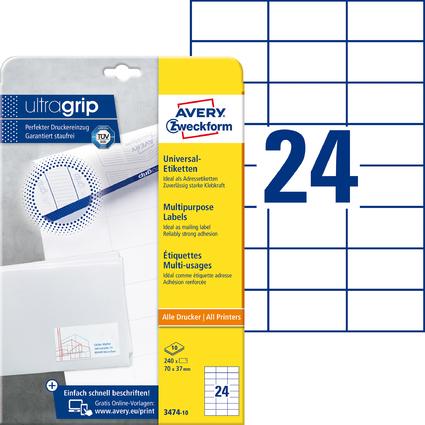 AVERY Zweckform Universal-Etiketten, 70 x 37 mm, weiß