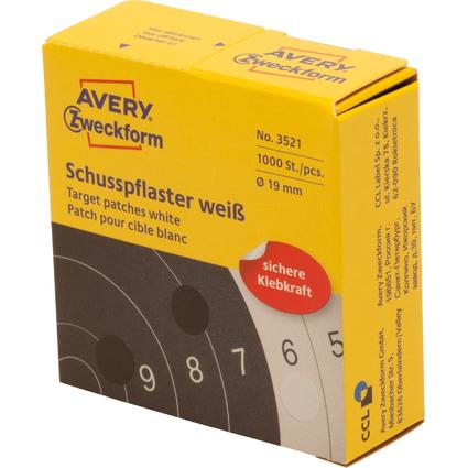 AVERY Zweckform Schußpflaster, weiß, Durchmesser: 19 mm
