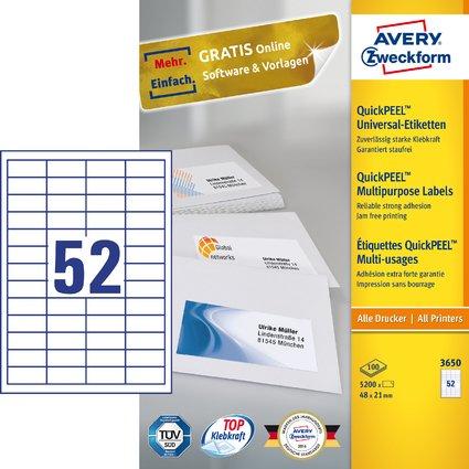 AVERY Zweckform Universal-Etiketten, 48 x 21 mm, weiß