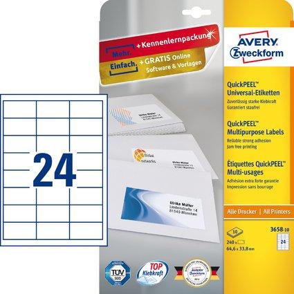 AVERY Zweckform Universal-Etiketten, 64,6 x 33,8 mm, weiß