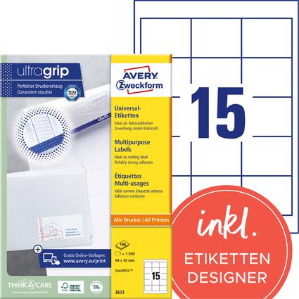 AVERY Zweckform Universal-Etiketten, 64 x 50 mm, weiß