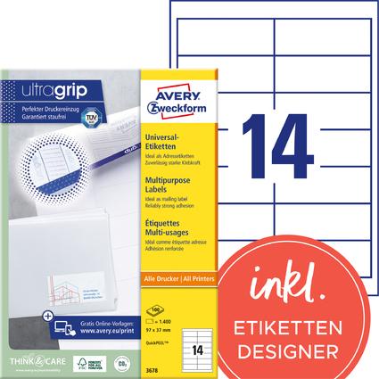 AVERY Zweckform Universal-Etiketten, 97 x 37 mm, weiß