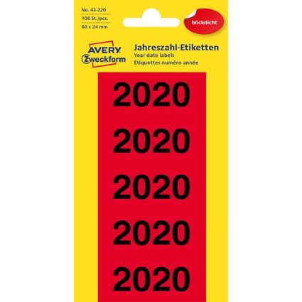 """AVERY Zweckform Inhaltsschilder """"2020"""", 60 x 26 mm, rot"""