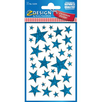 """AVERY Zweckform ZDesign Weihnachts-Sticker """"Sterne"""" blau"""