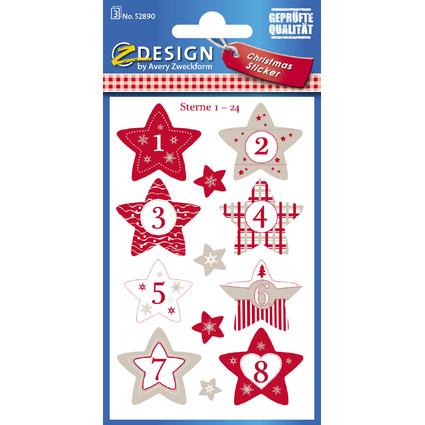 Avery Zweckform ZDesign Adventskalender-Sticker Sterne