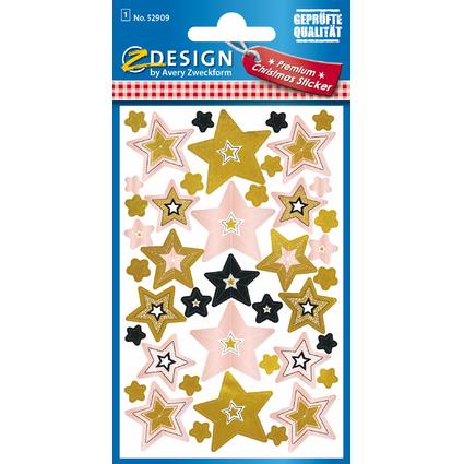 Avery Zweckform ZDesign Weihnachts-Sticker Sterne, geprägt
