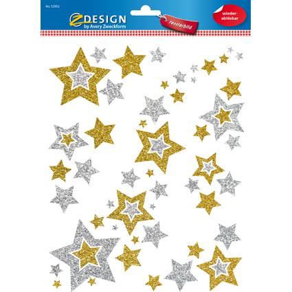 AVERY Zweckform ZDesign Weihnachts-Fensterbild Sterne silber