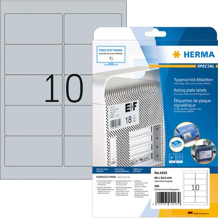HERMA Typenschild-Etiketten SPECIAL, 96 x 50,8 mm, silber