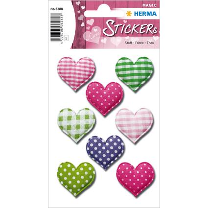 "HERMA Sticker MAGIC ""Herzen"", Stoff"