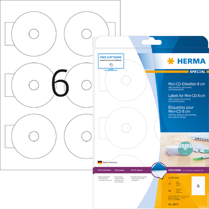 HERMA Mini CD-Etiketten Mini SPECIAL, Durchmesser: 78 mm
