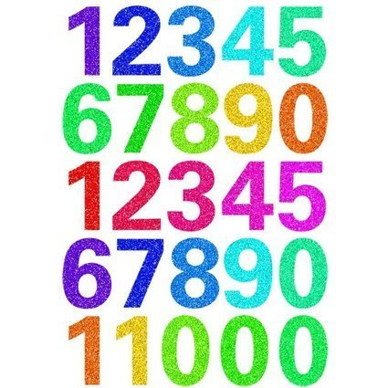 HERMA Zahlen-Sticker MAGIC GLITTERY 0-9, bunt bedruckt