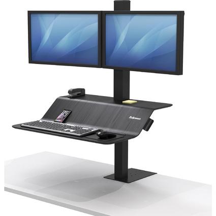 Fellowes Sitz-Steh Workstation Lotus VE, für 2 Monitore