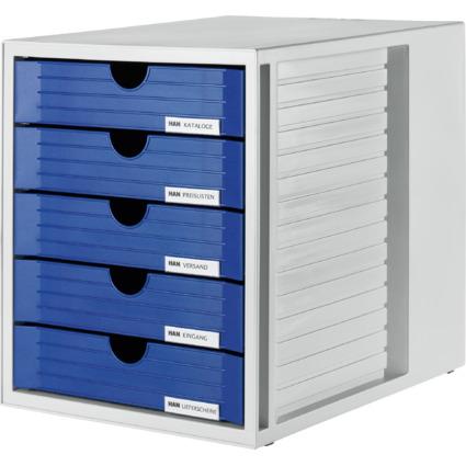 HAN Schubladenbox, 5 Schübe, Gehäuse: grau, Schubladen: blau