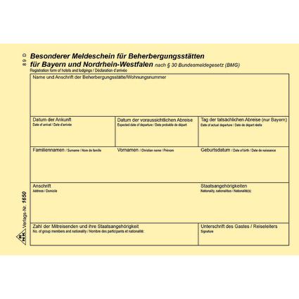 RNK Verlag Meldeschein für Beherbergungsstätten, Bayern/