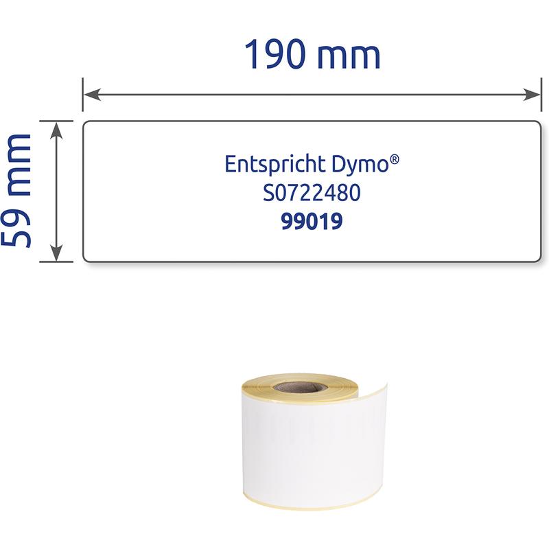 Etiketten 99019 kompatibel zu Dymo und Seiko S0722430 Label 59 x 190 mm Ordner