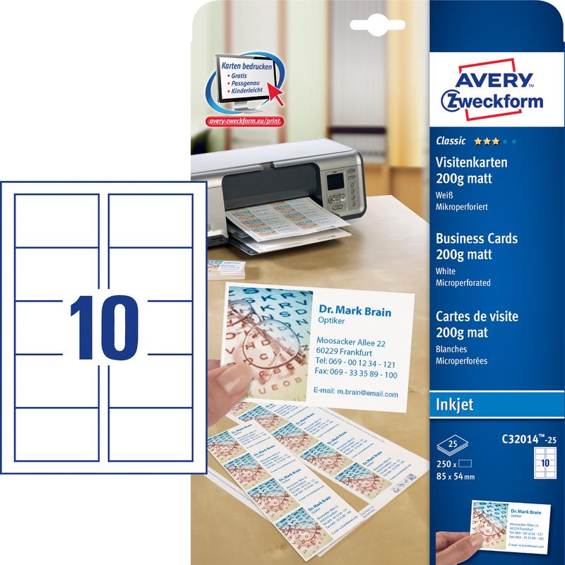 Avery Zweckform Visitenkarten 85 X 54mm Inkjet Beschichtung