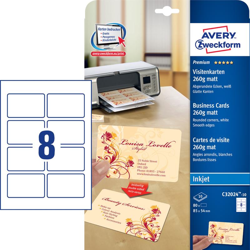 Avery Zweckform Quick Clean Visitenkarten Weiß Matt