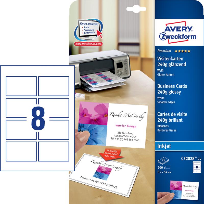 Avery Zweckform Premium Visitenkarten Glänzend