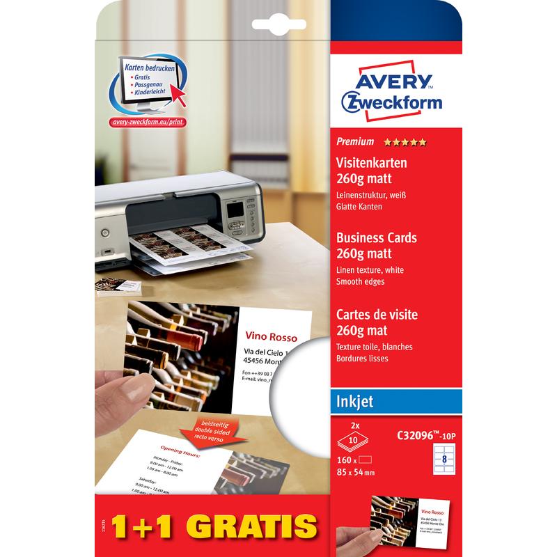 Avery Zweckform Quick Clean Visitenkarten 1 1 Gratis