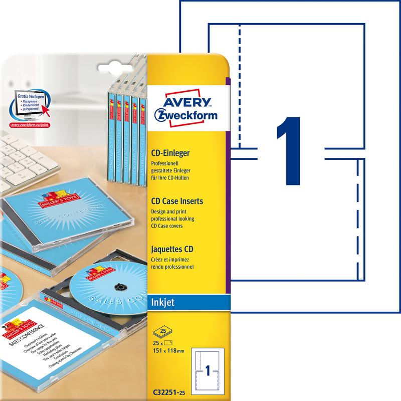 AVERY Zweckform Inkjet CD Einleger 200 g//qm weiß 25 Einleger