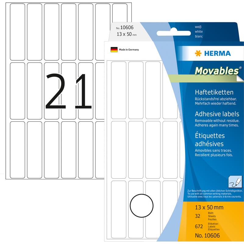 HERMA Vielzwecketikett 13x50mm Movables wei/ß VE=672 Etiketten